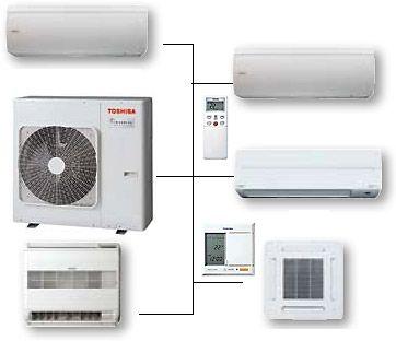 różne modele klimatyzatorów multisplit marki toshiba